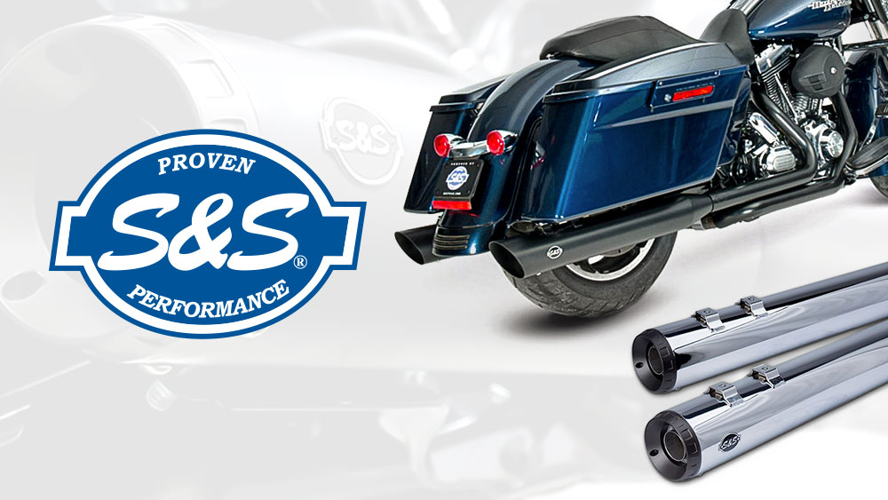 S&S Grand National Mufflers for Softail, Touring, Dyna & Street